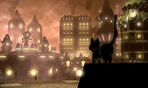 映画のセット町と黒猫