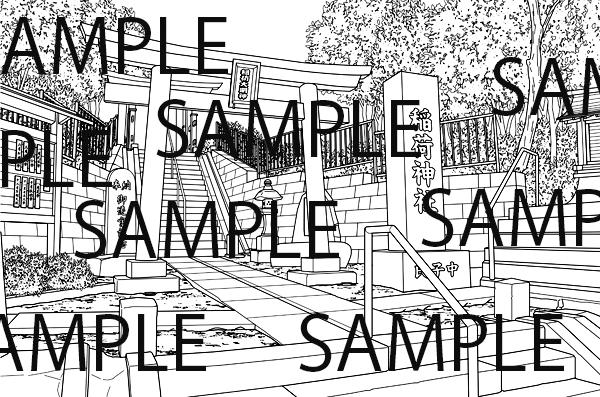 漫画背景素材「神社の鳥居イラスト」