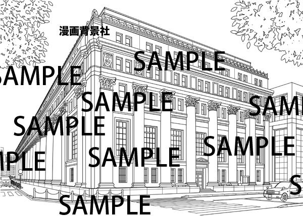 漫画背景素材「クラシックなビル(銀行の建物)」イラスト