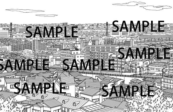 漫画素材素材俯瞰の街並みイラスト