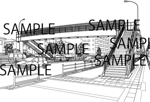 漫画背景素材「歩道橋」