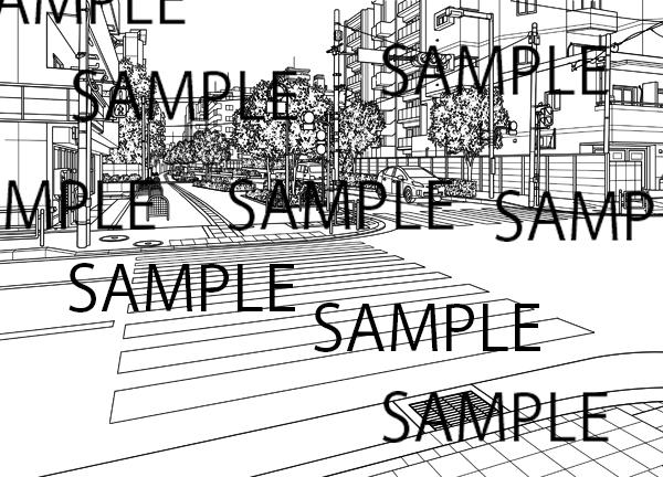 漫画背景素材「横断歩道イラスト」