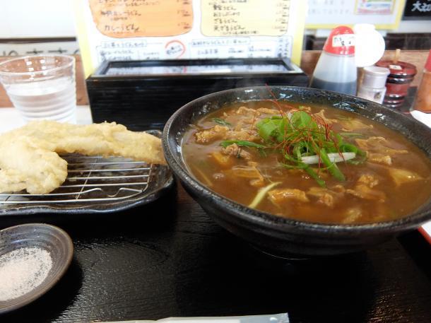 かすカレーうどんと天ぷら