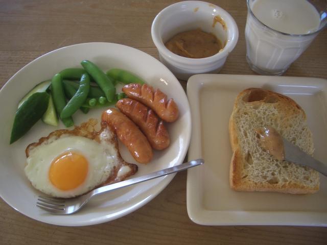 朝食(パンとミルクジャム)