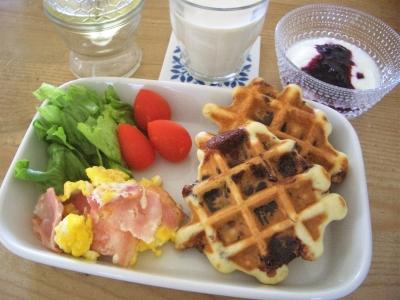 朝食(ワッフル)