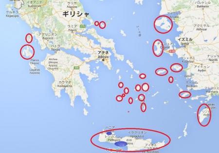 ギリシャ訪問先地図