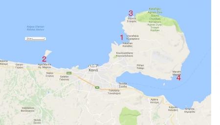 ハニア ビーチ地図