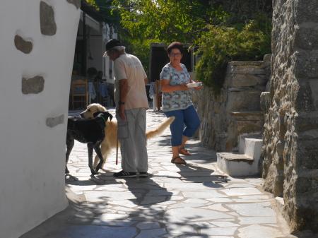 犬を散歩させる村人