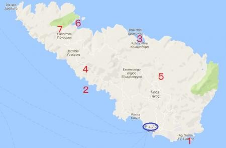 ティノスのビーチ地図