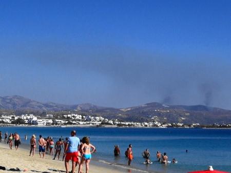 ビーチで見守る山火事