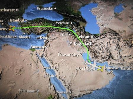 アブダビまでの飛行ルート