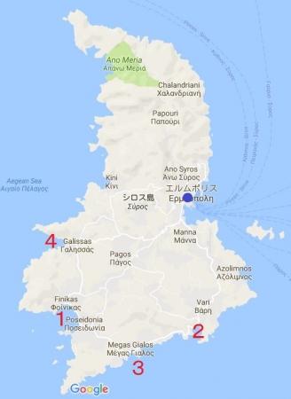 シロス島ビーチ地図