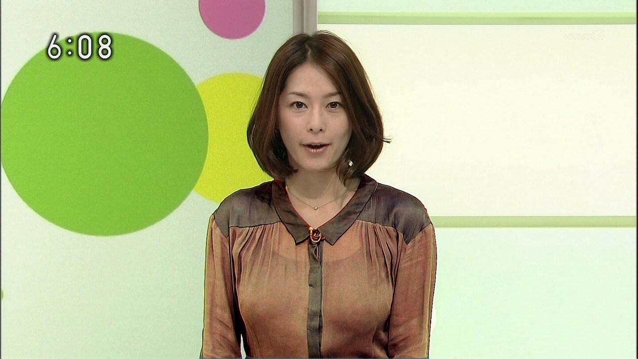 スケスケブラウスを着た杉浦友紀アナの着衣巨乳