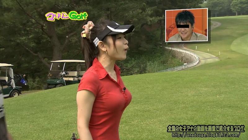 ポロシャツを着た九州放送・立花麻理アナの着衣巨乳