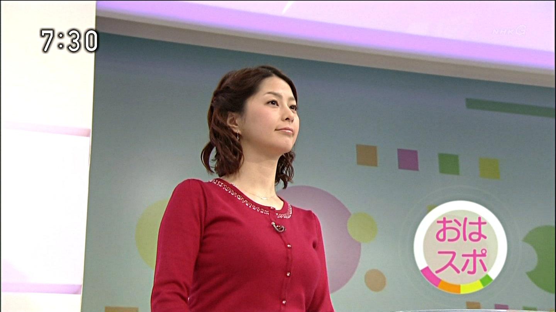 ニットを着た杉浦友紀アナの着衣巨乳
