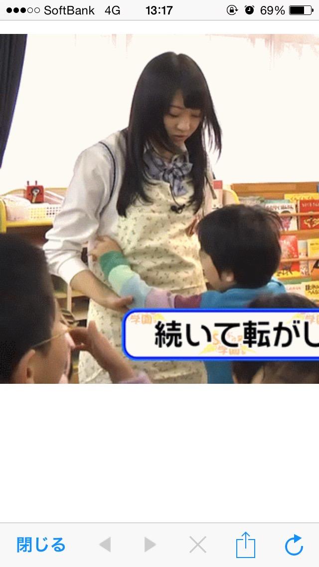 保育士さん体験で園児におっぱいを揉まれてムッとする木崎ゆりあ