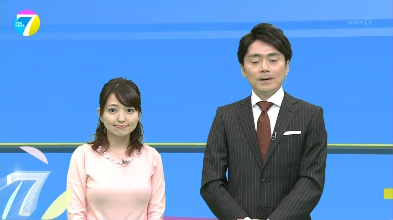 NHKニュース7の気象予報士・福岡良子の着衣巨乳