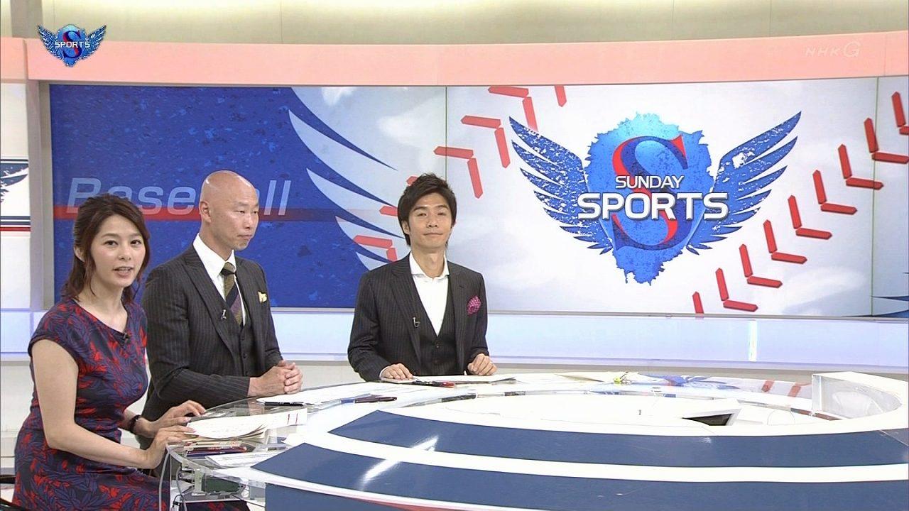 NHK「サンデースポーツ」で体のラインが分かるワンピースを着てる杉浦友紀アナの爆乳と共演者の森本稀哲