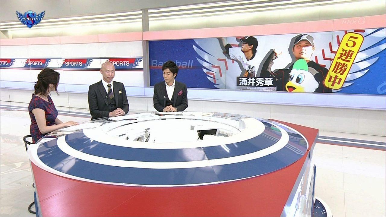 NHK「サンデースポーツ」で体のラインが分かるワンピースを着てる杉浦友紀アナの爆乳