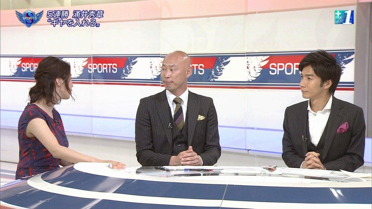 NHK「サンデースポーツ」で体のラインが分かるワンピースを着た杉浦友紀アナの着衣巨乳