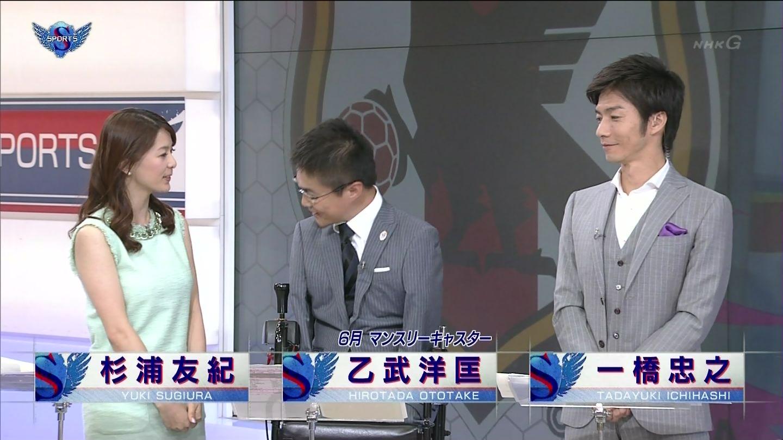 NHK「サンデースポーツ」で杉浦友紀アナの着衣巨乳をガン見する乙武洋匡