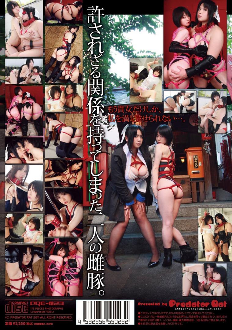 コスプレイヤー・うしじまいい肉と蝶月真綾のデジタル写真集「まりょうとうしじま」パッケージ写真