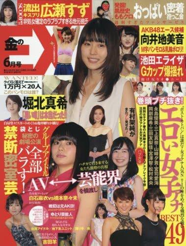 雑誌「金のEX 2016年 06 月号」表紙(向井地美音のM字パンモロ&乳輪ポロリ)