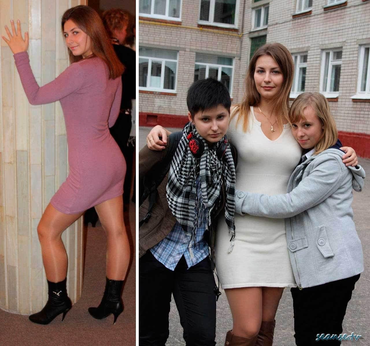 ミニスカワンピースを着てノーブラ乳首が透けてるロシアの女教師