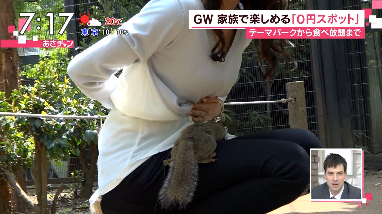 TBS「あさチャン」の行楽スポット紹介でリスにGカップおっぱいを吸われる宇垣美里アナ