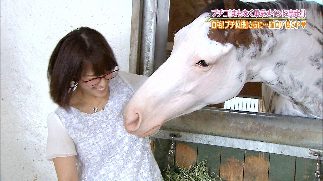 テレ東「ウイニング競馬」ロケで馬のブチコにおっぱいを舐められる鷲見玲奈