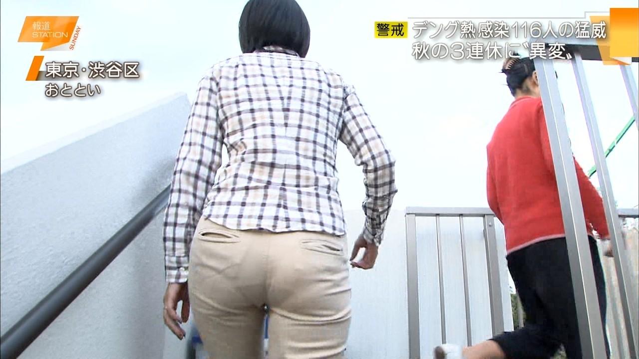白いパンツでお尻を撮られてパンツの線が丸見えの矢島悠子アナ