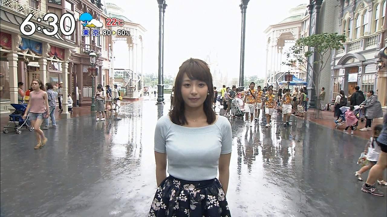 ニットの衣装を着た宇垣美里アナの着衣巨乳