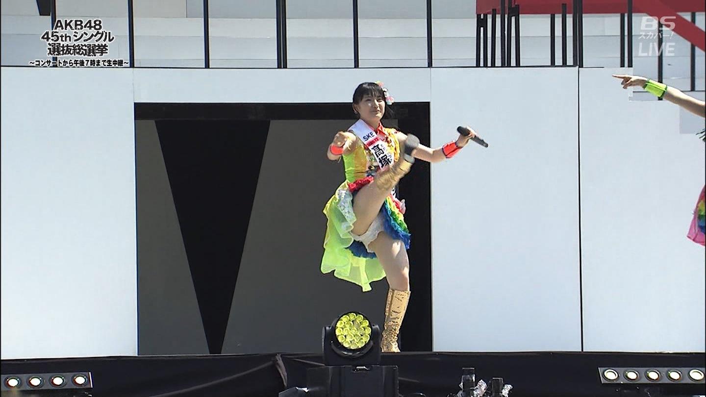 「第8回AKB48選抜総選挙」のパフォーマンスで開脚してパンツ丸見えのSKE48・髙塚夏生