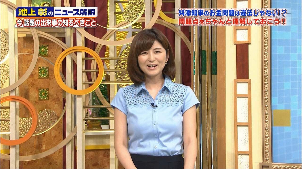 「池上彰のニュースそうだったのか!!2時間スペシャル」でブラウスを着た宇賀なつみアナの着衣おっぱい