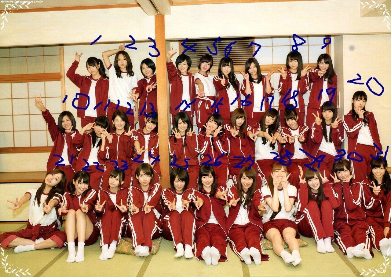 体操着を着て女子高の集合写真みたいに写っている乃木坂46のメンバー