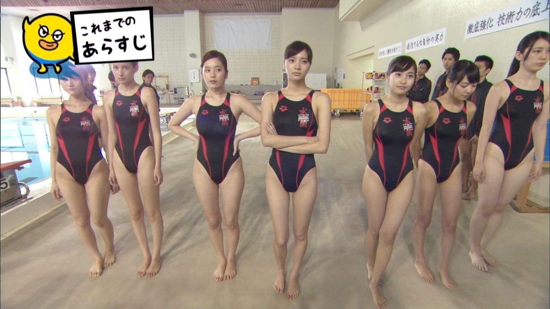 ドラマ「水球ヤンキース」で競泳水着を着た筧美和子、新川優愛、佐野ひなこ