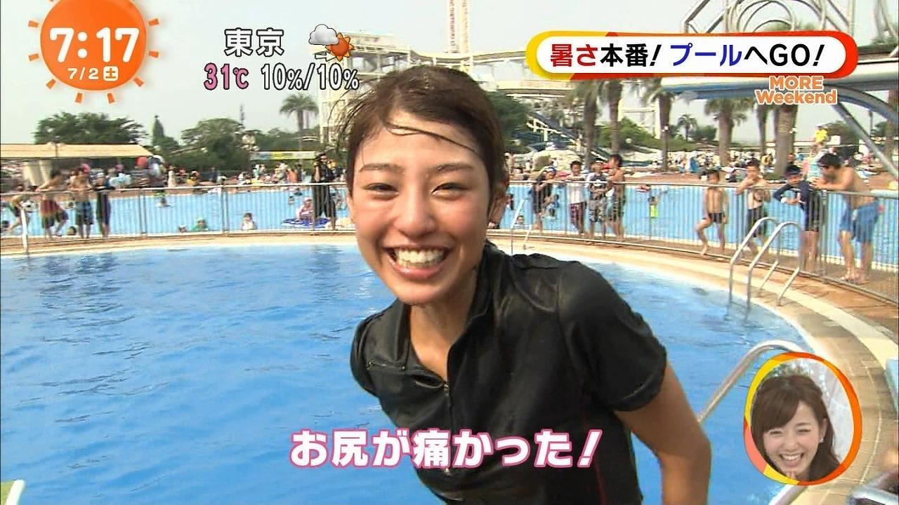 フジテレビ「めざましどようび」、水着でウォータースライダーをしてマンスジ丸出しの岡副麻希アナ