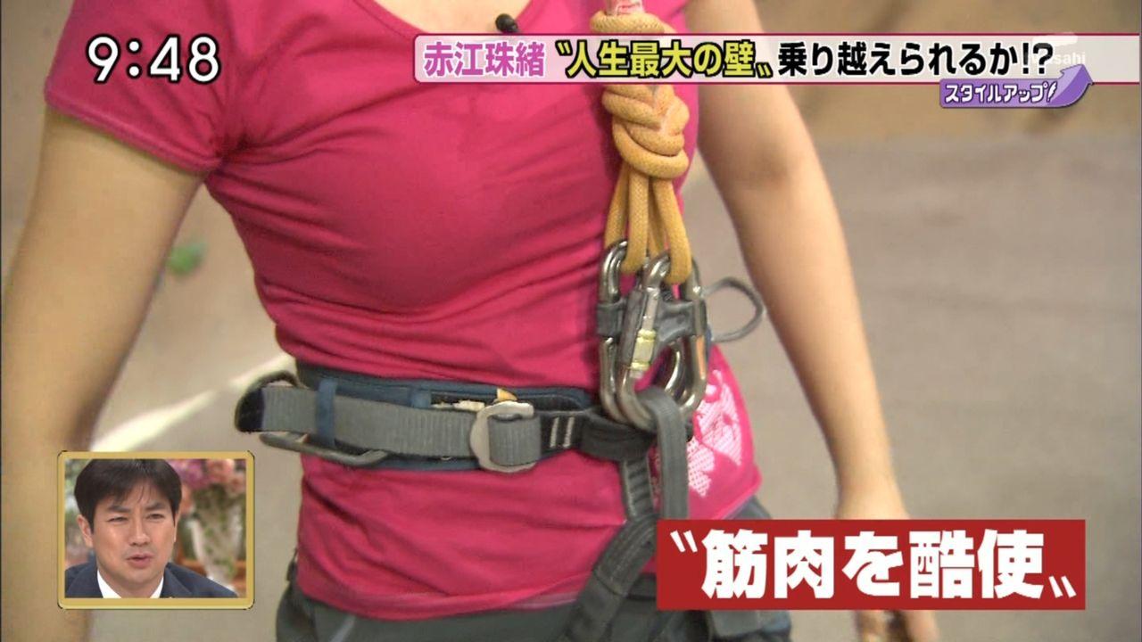 テレ朝「モーニングバード」でフリークライミングに挑戦した赤江珠緒のTシャツ着衣巨乳