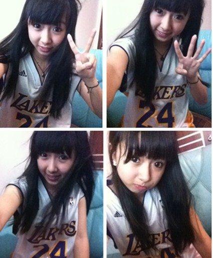 バスケットボールユニフォームを着た女の子のプリクラ