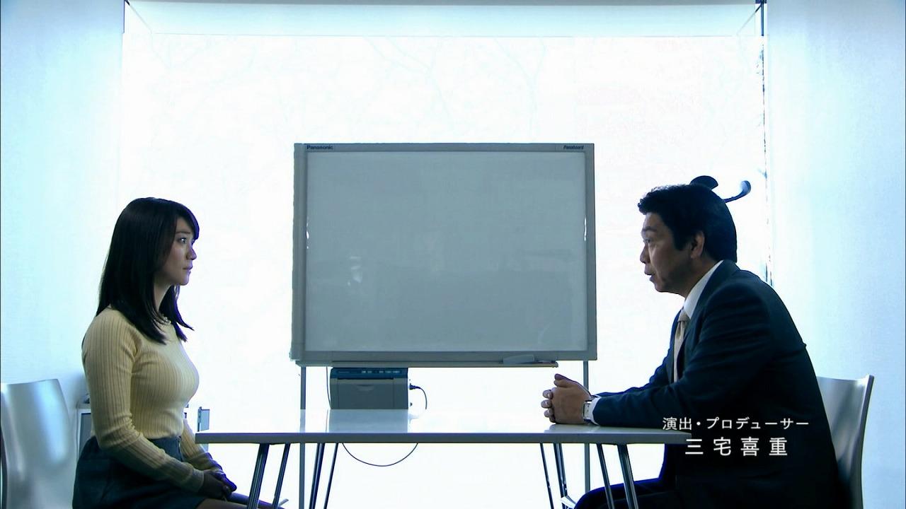 ドラマ「銭の戦争」でニットを着た大島優子の着衣巨乳