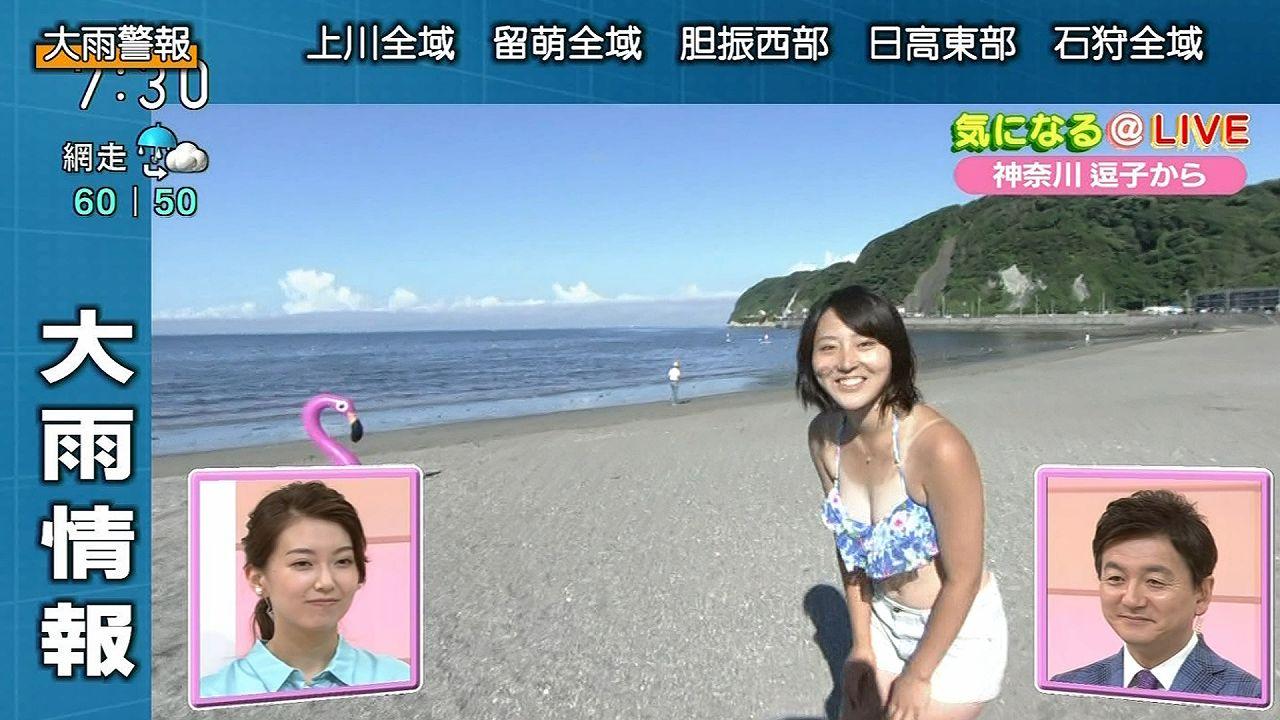 NHKの朝のニュースで水着でレポートする女