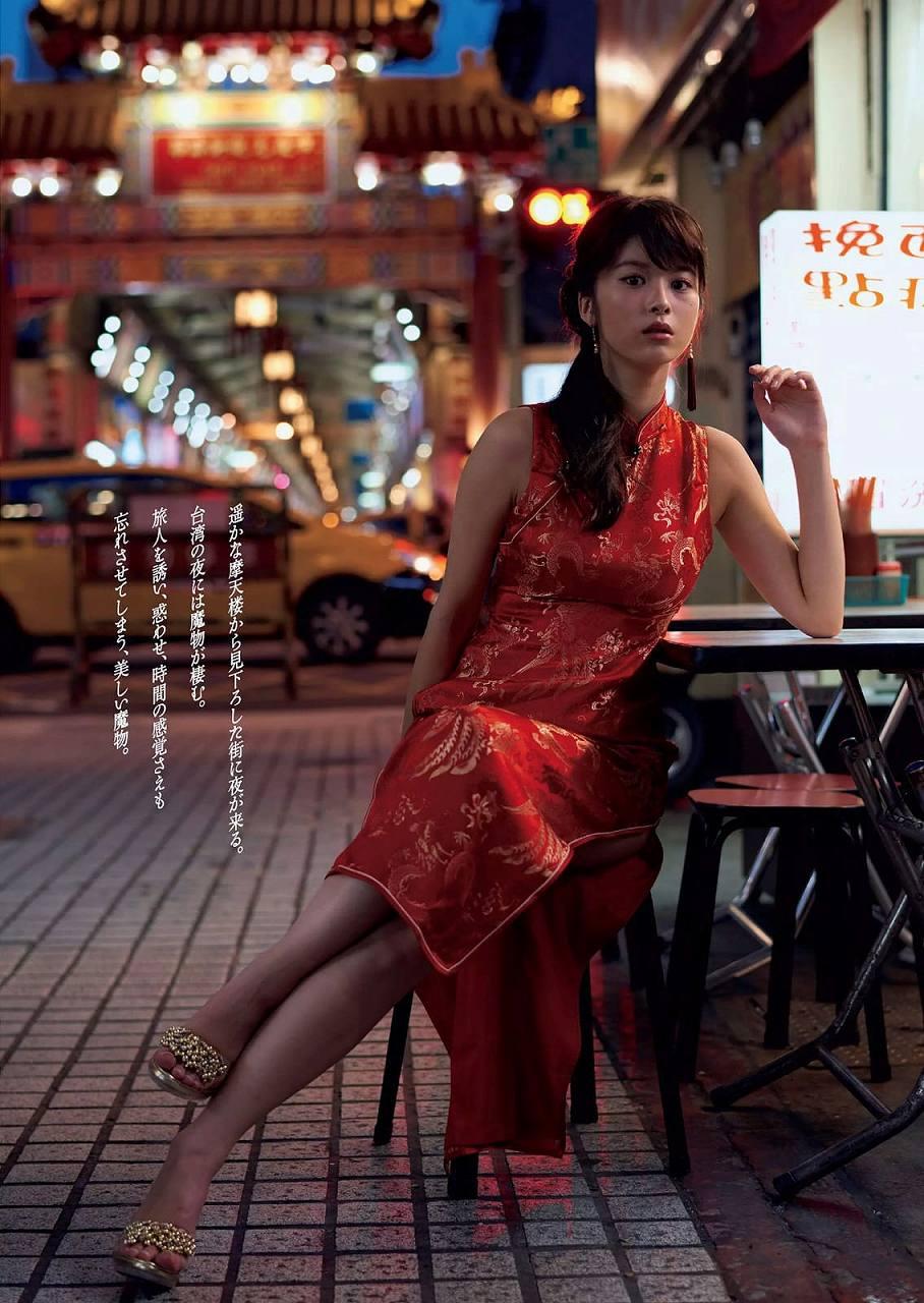 「週刊プレイボーイ 2016年 8/8 号」馬場ふみかのチャイナドレス着衣巨乳グラビア