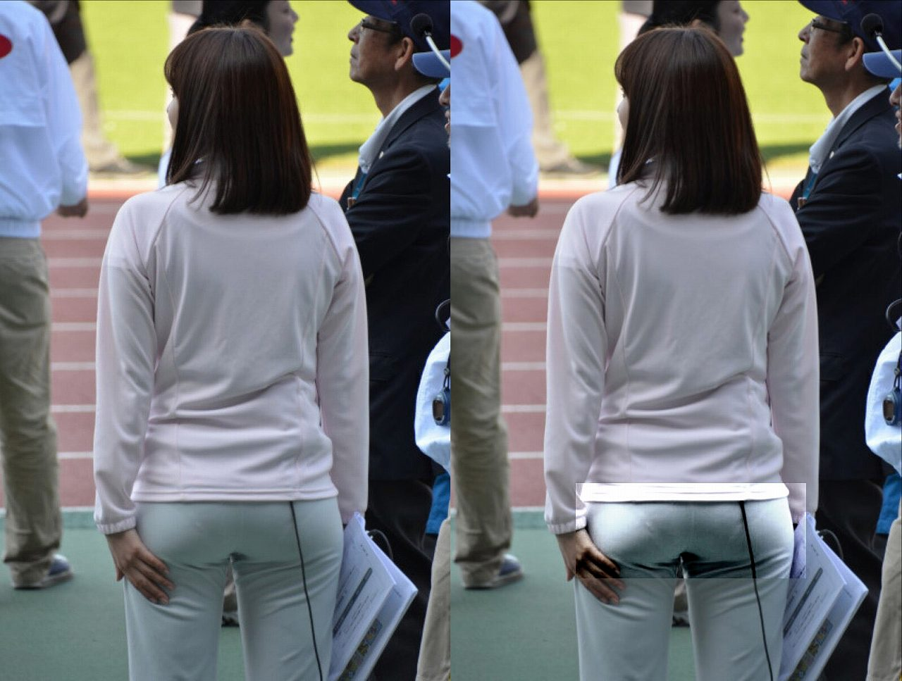 薄いジャージを履いてパンツのラインが丸見えの久冨慶子アナ