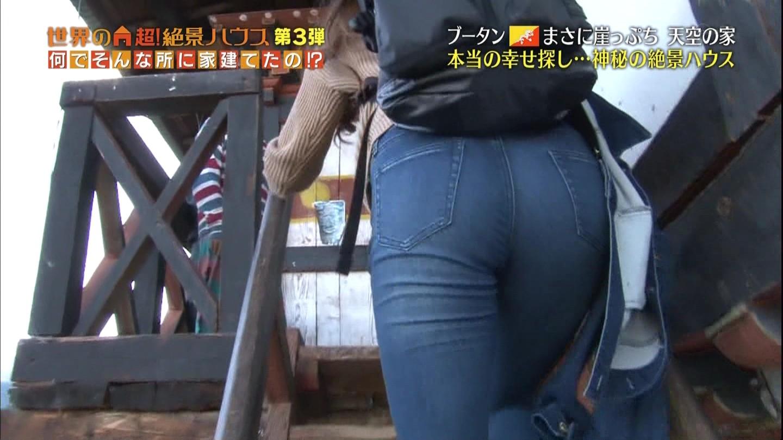 「世界の超!絶景ハウス」でパンツを履いた女子アナのデカ尻