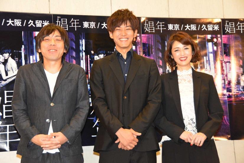 舞台「娼年」について囲み取材を受ける三浦大輔、松坂桃李、高岡早紀