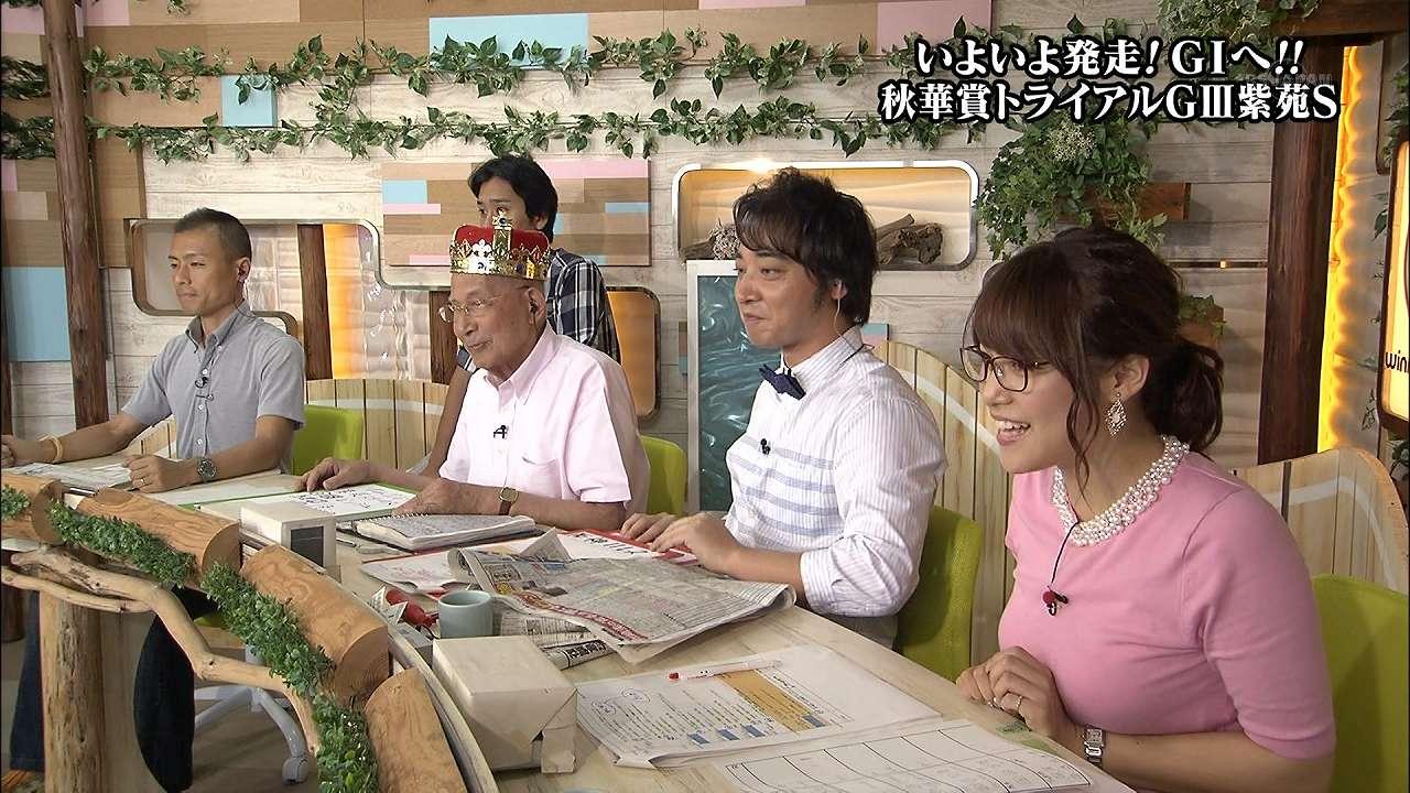 テレ東「ウイニング競馬」の鷲見玲奈アナの着衣巨乳