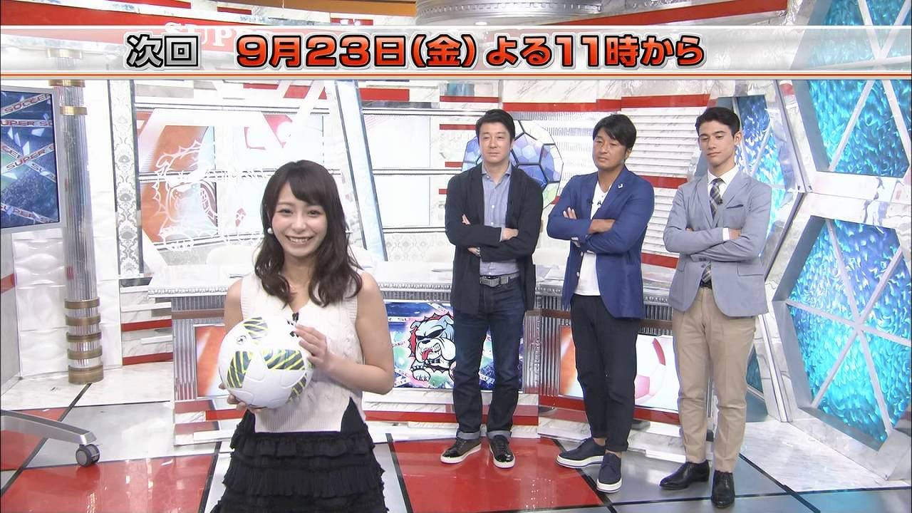 TBS「スーパーサッカーJ+」でサッカーボールにキスした後に投げキッスをする宇垣美里アナ