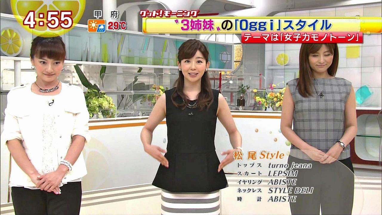 ノースリーブの衣装を着て腋を見せてる松尾由美子アナ