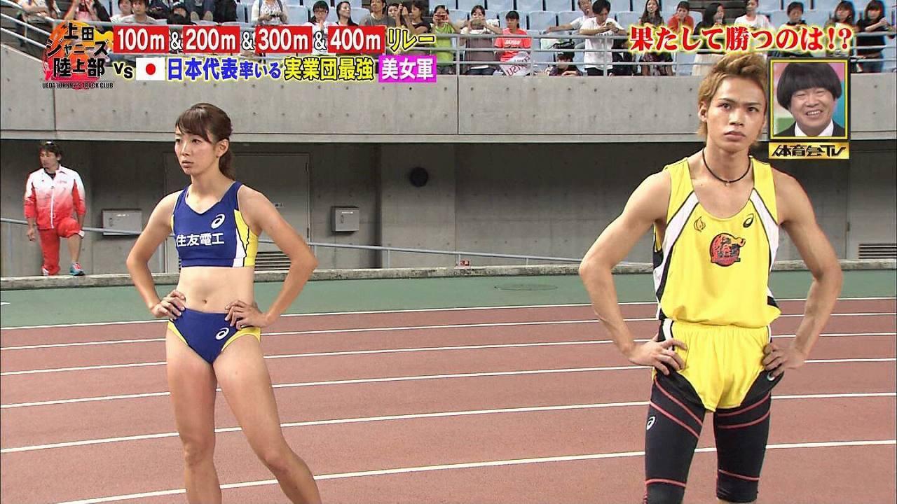 TBS「炎の体育会TV」に出演した日焼けあとくっきりの陸上選手