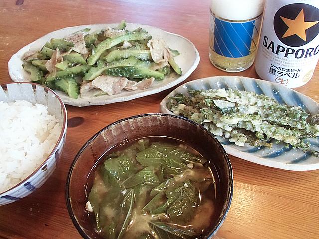 緑だらけの朝ご飯